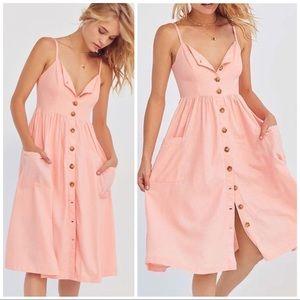 UO Cooperative Emilia Linen Button Down Midi Dress
